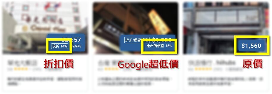 Google 搜尋飯店 - 優惠價格顯示