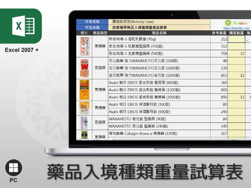 Excel 旅客攜帶藥品入境種類重量試算表