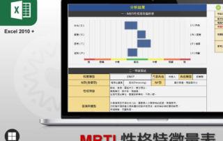 Excel MBTI 性格特徵量表