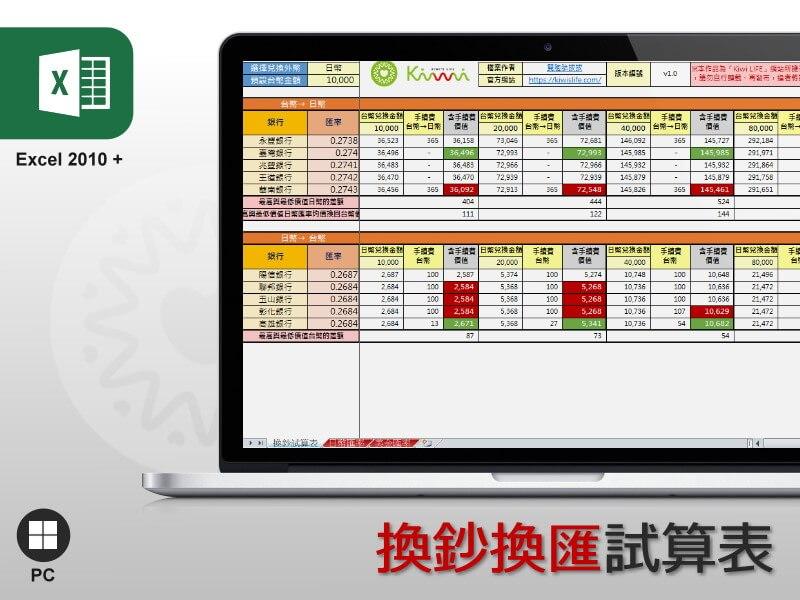 Excel 換鈔換匯試算表
