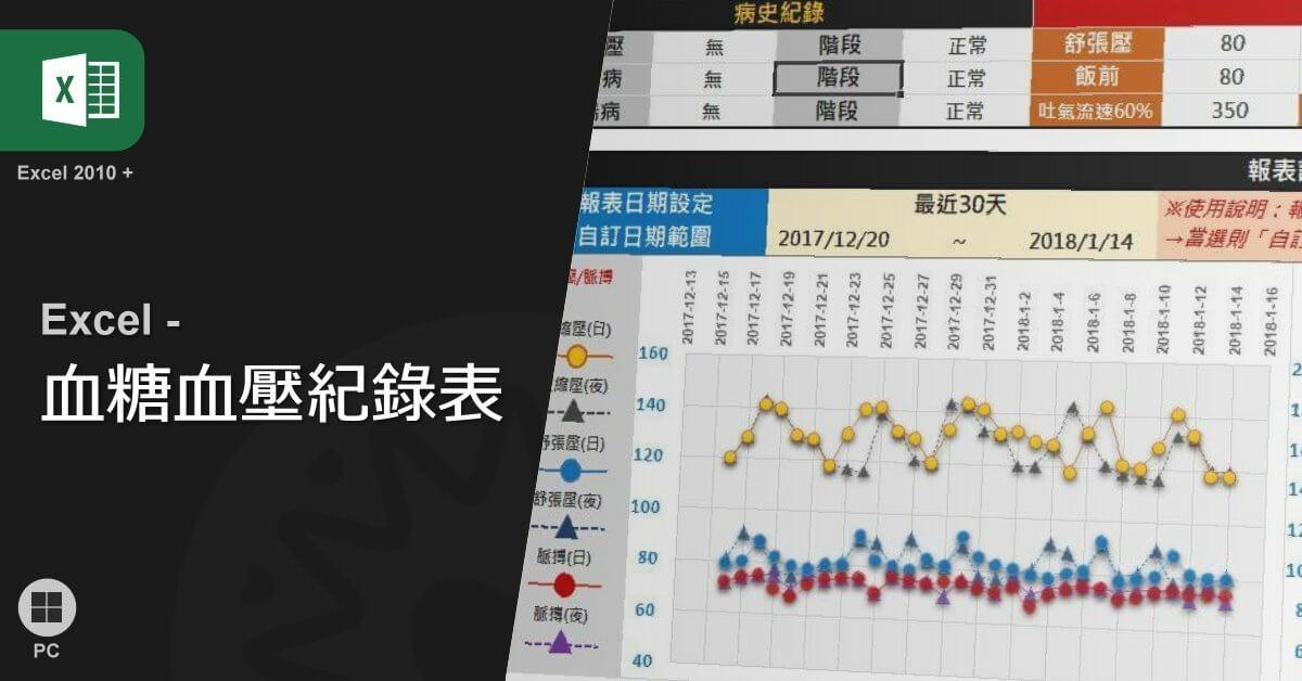Excel血壓血糖紀錄表